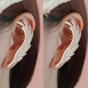 NEW Gold Wing Feathers Ear Clips Left Ear 2PCS